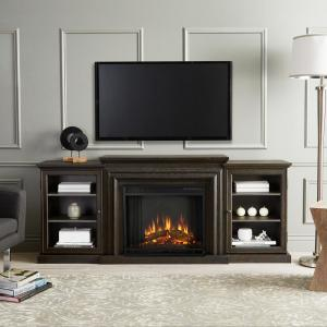 Frederick 72 in. Freestanding Electric Fireplace TV Stand in Teakwood Gray