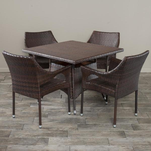 Cayden Multibrown 5-Piece Wicker Square Outdoor Dining Set with Stackable Chairs