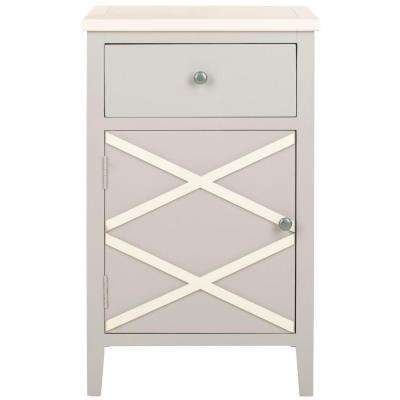 Alan Gray and White Storage End Table