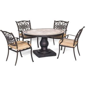 Hanover Monaco 5-Piece Round Patio Dining Set with Natural Oat Cushions by Hanover