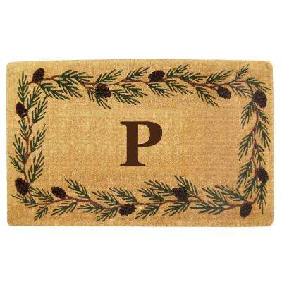 Evergreen 30 in. x 48 in. Heavy Duty Coir Monogrammed P Door Mat