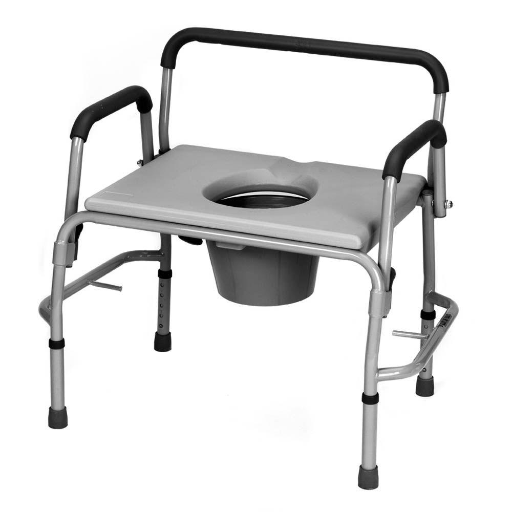 null Bariatric Drop Arm Commode in White and Grey-DISCONTINUED