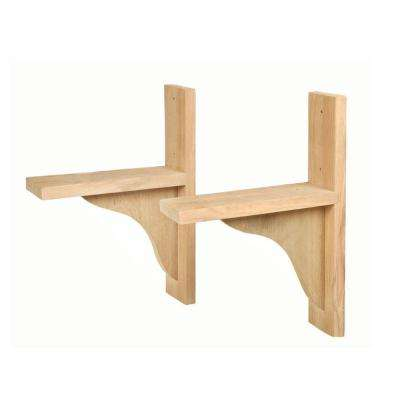 Natural Wood Window Box Brackets (1-Pair)