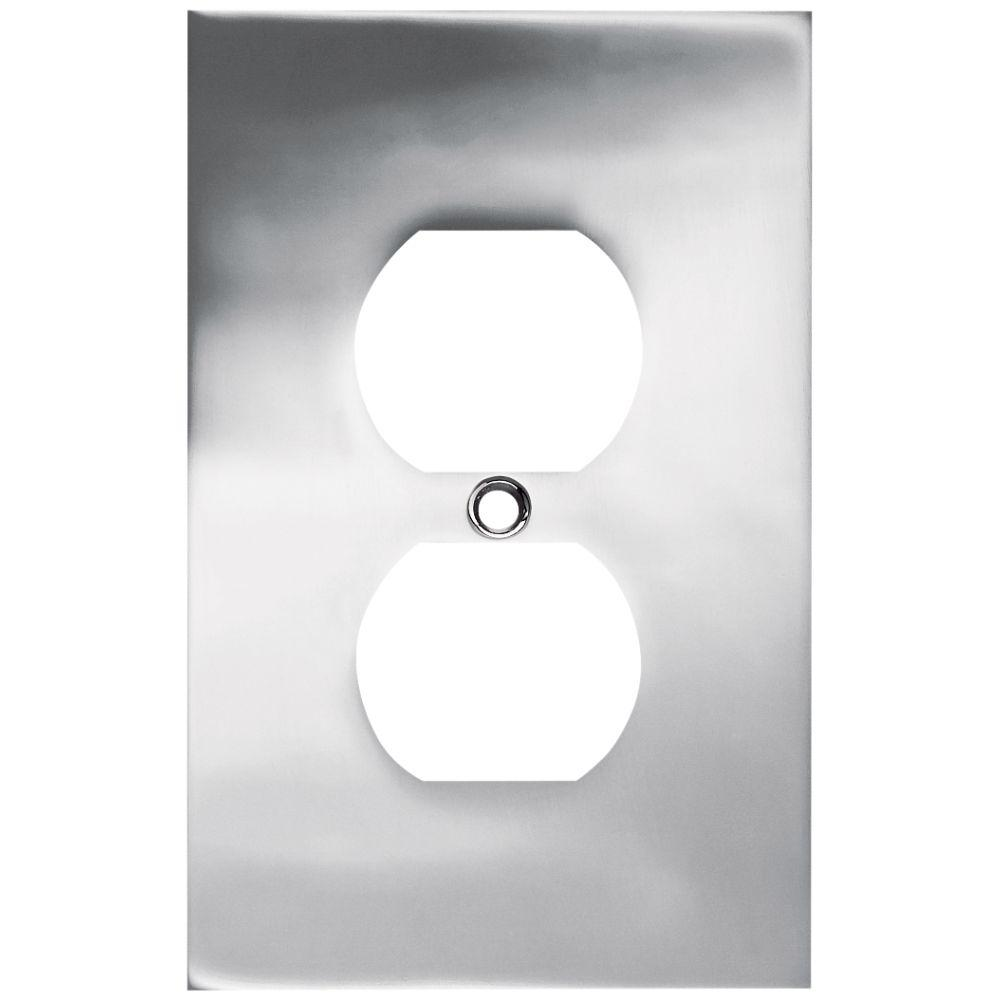 Liberty Chrome 1-Gang Duplex Outlet Wall Plate (1-Pack)