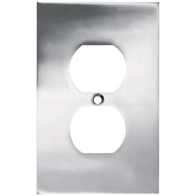 Concave Decorative Single Duplex Outlet Cover, Polished Chrome