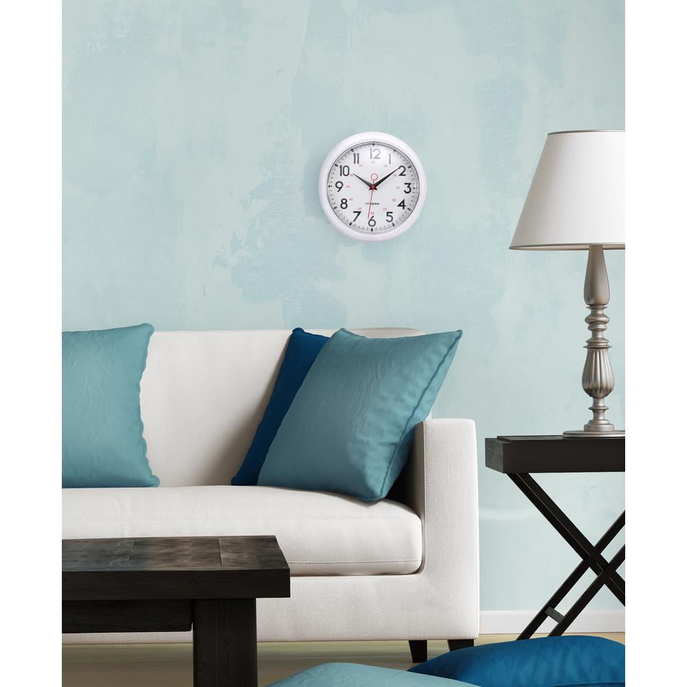 Kiera Grace 9.5 in. Retro White Wall Clock with Chrome Bezel and Convex Glass Lens (4-Pack) was $82.12 now $53.07 (35.0% off)