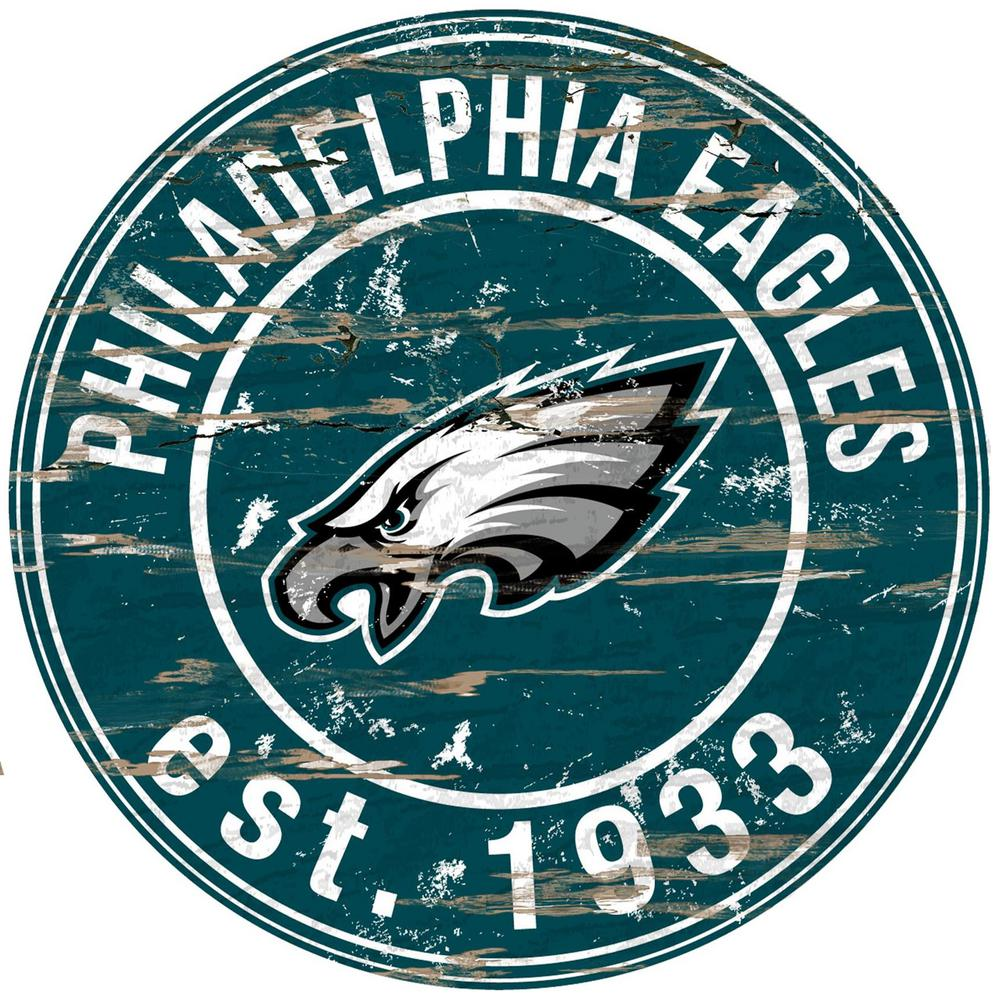 24 Nfl Philadelphia Eagles Round Distressed Sign
