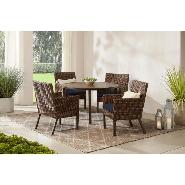 Fernlake 5-Piece Taupe Wicker Outdoor Patio Dining Set with CushionGuard Midnight Navy Blue Cushions
