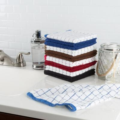 Multi Windowpane Pattern Cotton Kitchen Towels (Set of 16)