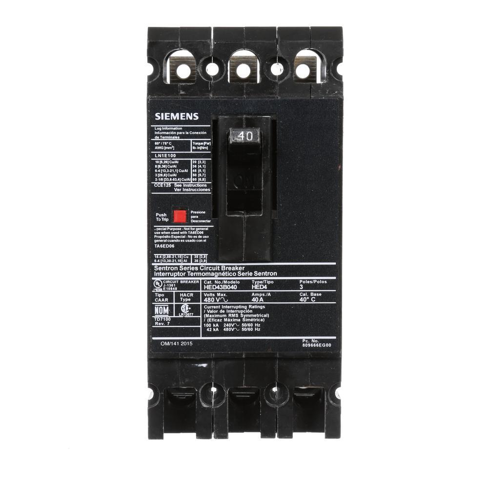 40 Amp 3-Pole Type ED 42 kA Circuit Breaker