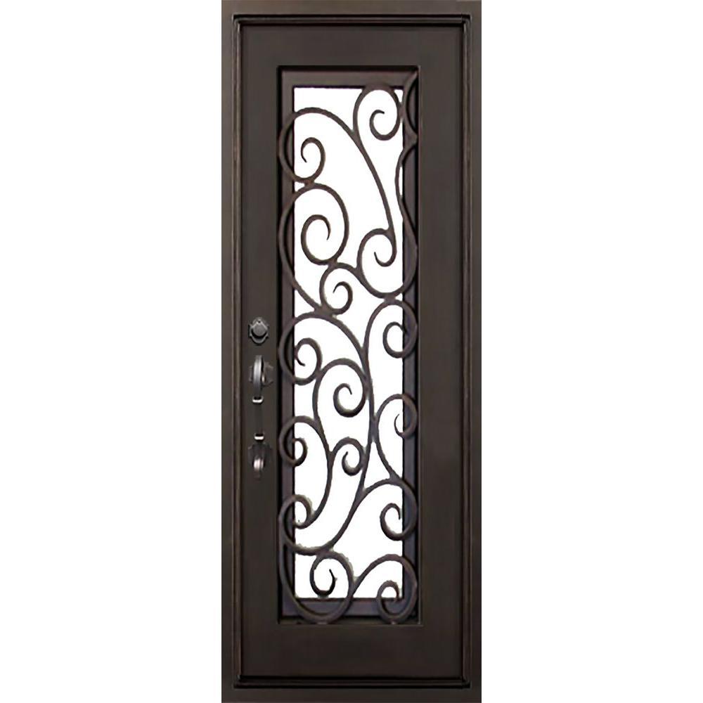 ALLURE IRON DOORS & WINDOWS 40 in. x 82 in. Lauderdale Flat Top Dark Bronze Full Lite Painted Wrought Iron Prehung Front Door (Hardware Included)