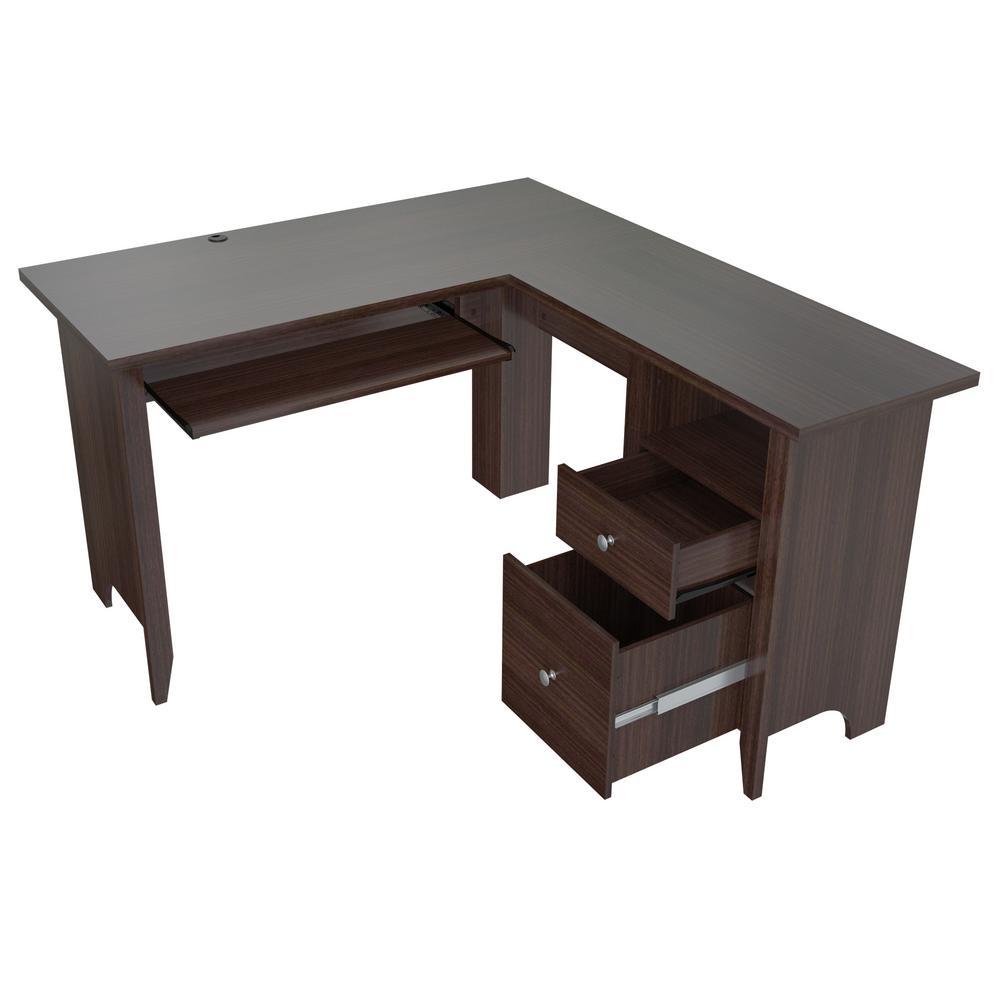 Espresso Wengue L- Shaped Computer Writing Desk