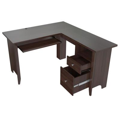 53.1 in. Espresso Wengue L-Shaped 2 -Drawer Computer Desk with Keyboard Tray