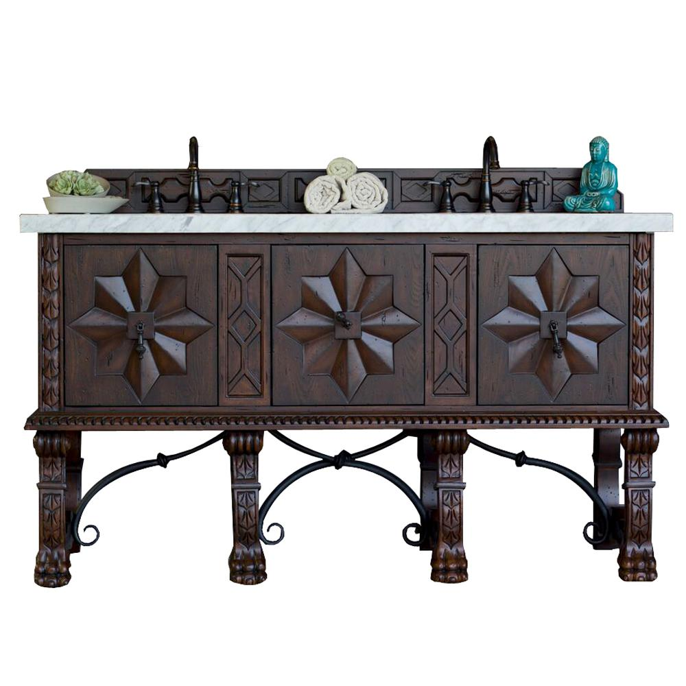 James Martin Signature Vanities Balmoral 60 in. W Double Vanity in Antique Walnut with Marble