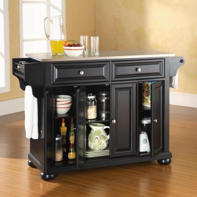 Alexandria Black Kitchen Cart with Stainless Steel Top