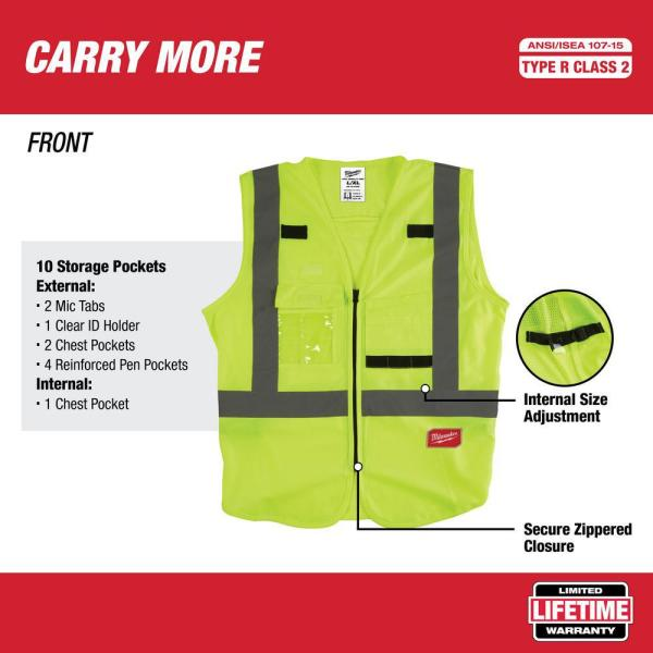 Milwaukee 4x Large 5x Large Yellow Class 2 High Visibility Safety Vest With 10 Pockets 4 Pack 48 73 5024x4 The Home Depot