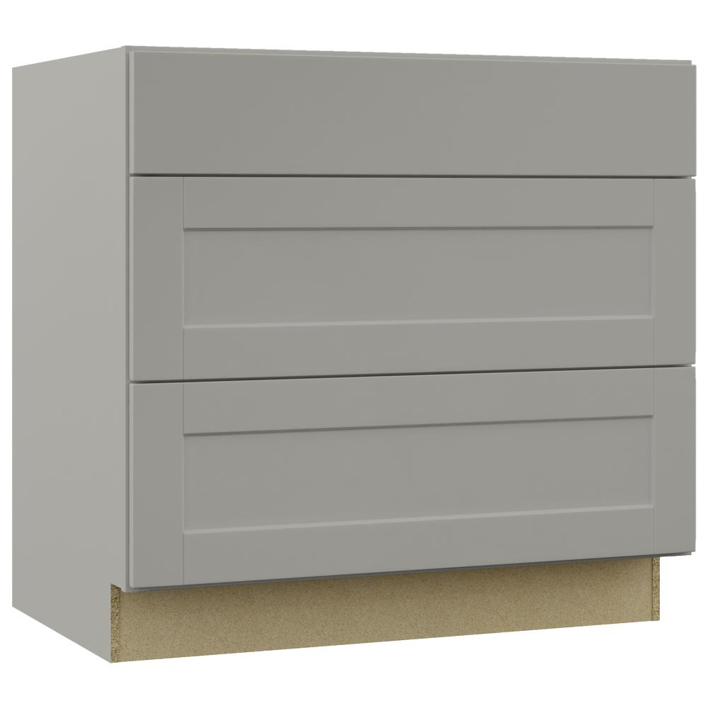 Hampton Bay Shaker Assembled In Pots And Pans Drawer Base Kitchen Cabinet In Dove