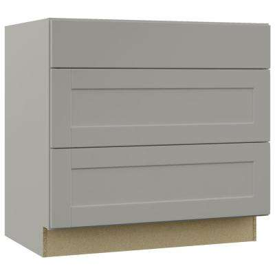 Shaker Assembled 36x34.5x24 in. Pots and Pans Drawer Base Kitchen Cabinet in Dove Gray
