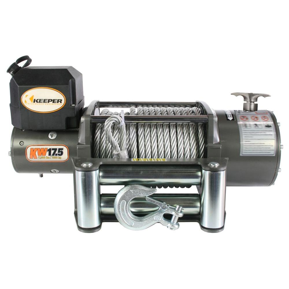 Keeper 17,500 lbs. Utility Winch 12VDC with Wireless Remote