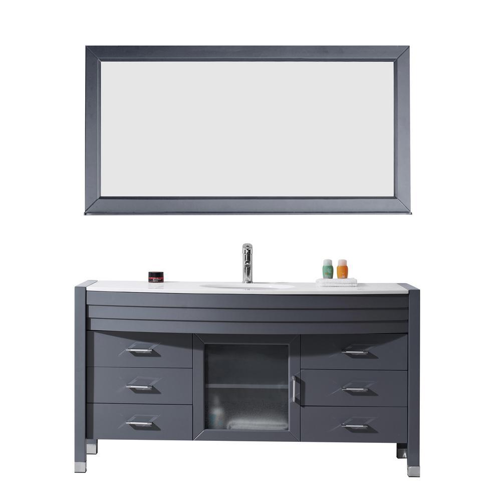 Ava 61 in  W x 21 75 in  D x 34 37 in  H GreySassy 60 in  Vanity in White with Marble Vanity Top in Carrara  . 96 Inch Double Sink Vanity Top. Home Design Ideas