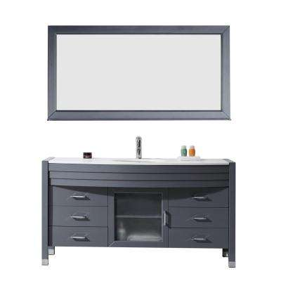Ava 61 in. W x 21.75 in. D x 34.37 in. H Grey Vanity With Stone Vanity Top With White Round Basin and Mirror