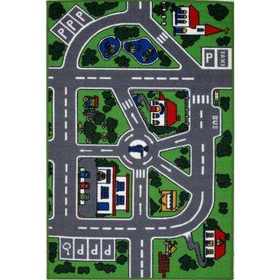 Fun Time Streets Multi Colored 5 ft. x 8 ft. Area Rug