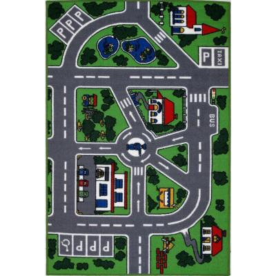 Fun Time Streets Multi Colored 8 ft. x 11 ft. Area Rug