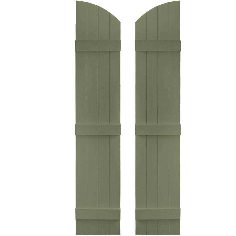 Builders Edge 14 in. x 69 in. Board-N-Batten Shutters Pair, 4 Boards Joined with Arch Top #282 Colonial Green