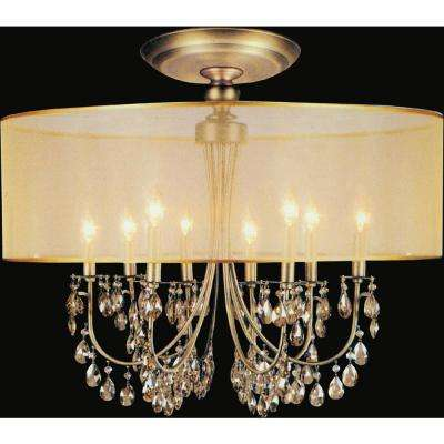 Halo 8-Light French Gold Semi-Flush Mount