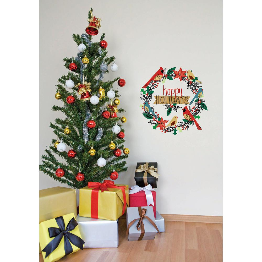 Christmas Decorations For Home Windows: WallPOPs 20 In. X 20 In. Happy Holidays Wreath Small Wall