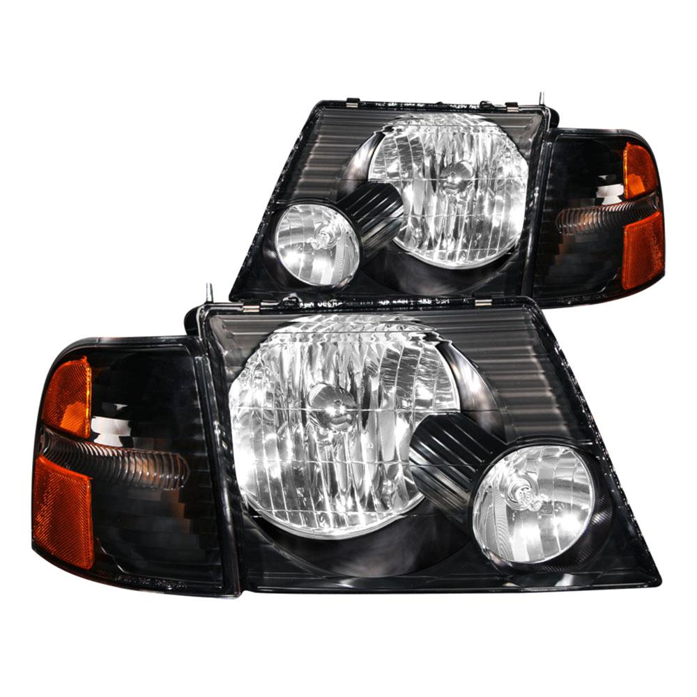 2002 2005 Ford Explorer Crystal Headlights Black W Corner Lights 2pc