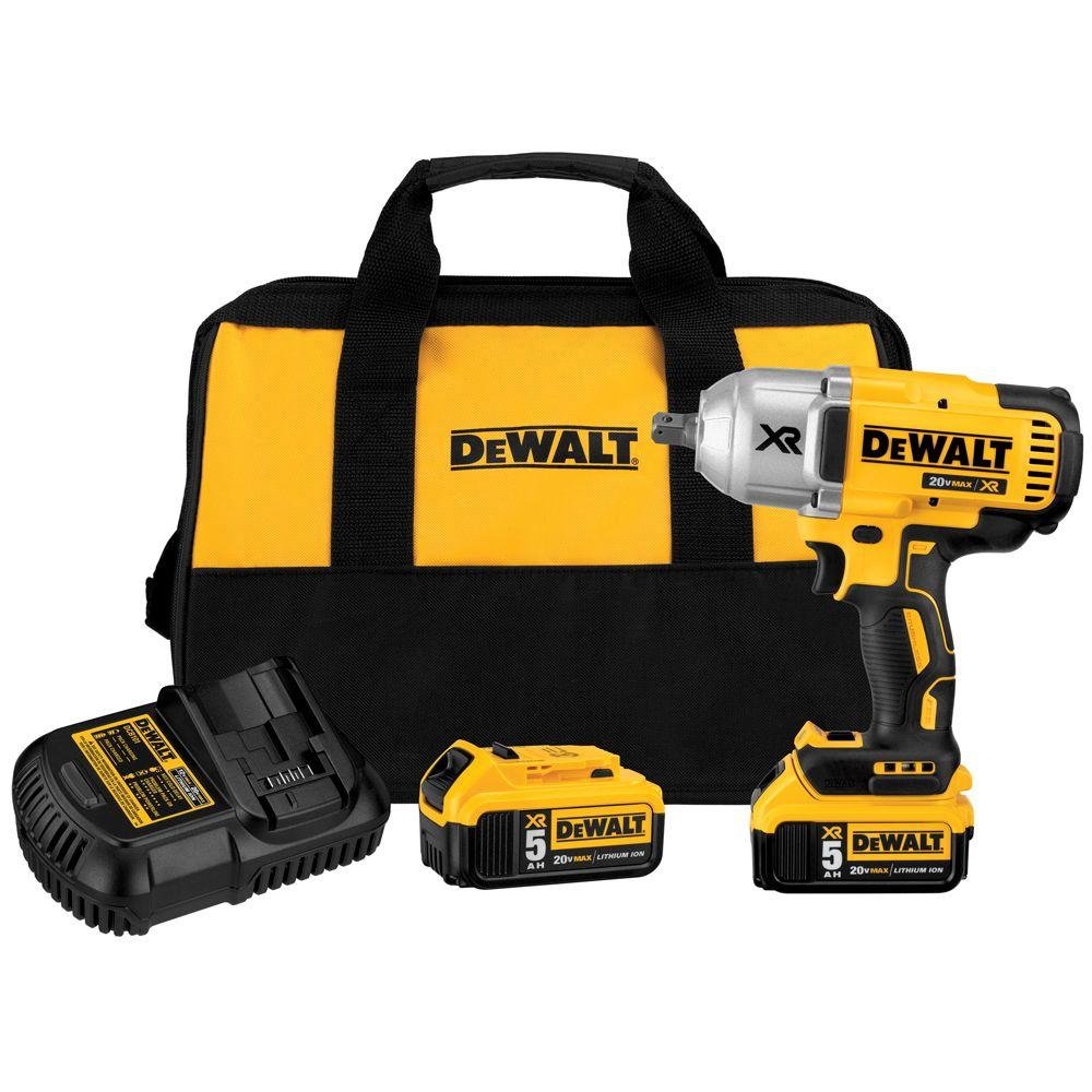 20 Volt Max Xr Lithium Ion Cordless 1 2 In Impact Wrench Kit With Detent Anvil Batteries 5ah Charger And Bag