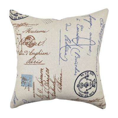 Tan and Blue Postal Script Throw Pillow