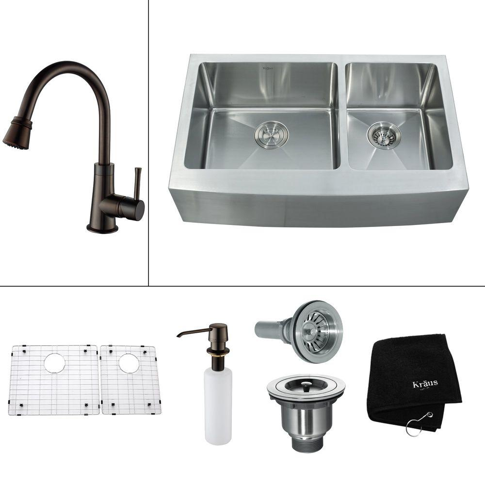 KRAUS All-in-One Farmhouse Apron Front Stainless Steel 35.9 in. 0-Hole Double Bowl Kitchen Sink with Accessories