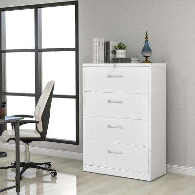 White Large Lateral Metel File Cabinet with Lock