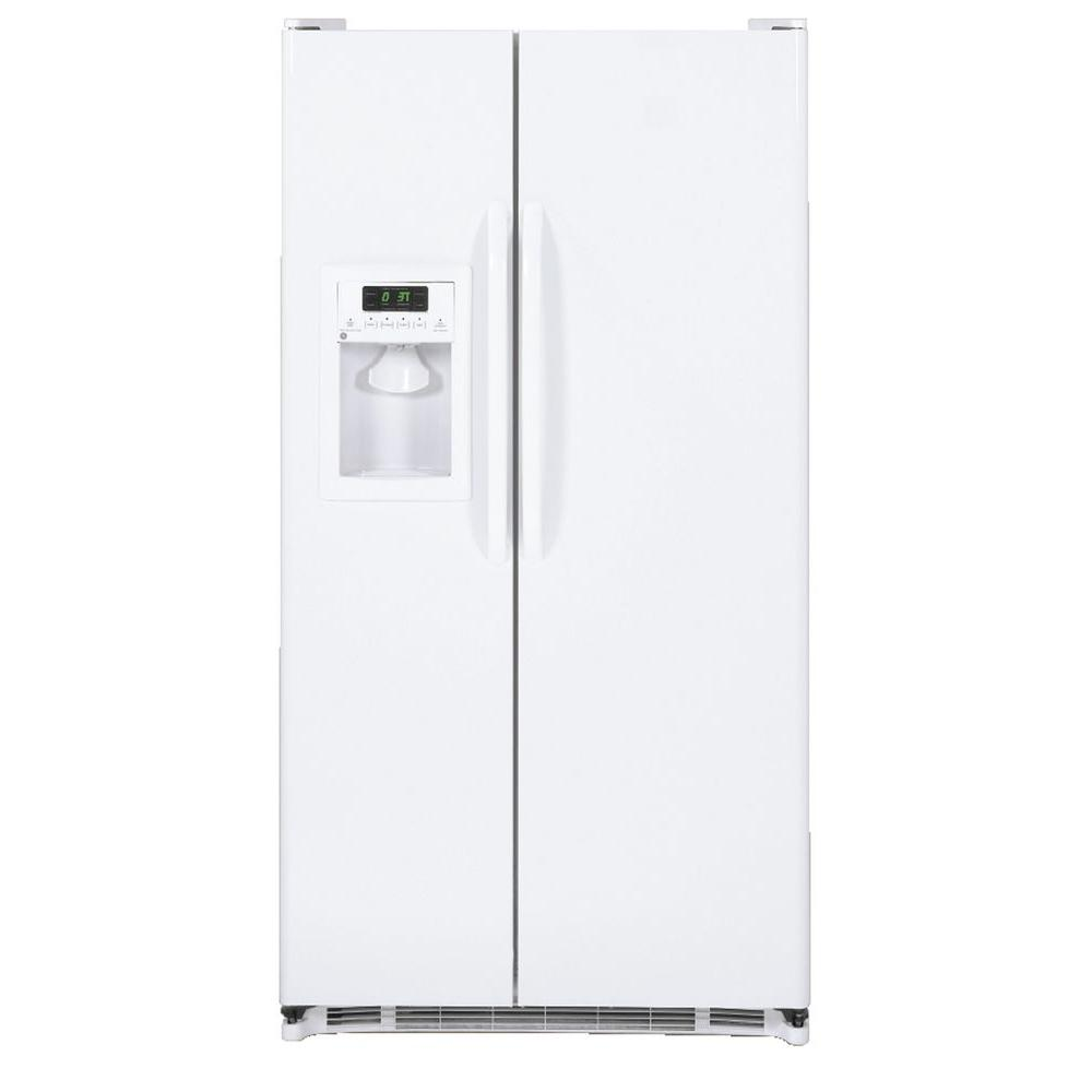 G.E. Appliances 25.3 cu. ft. Built-in Side by Side Refrigerator in White LIMITED QUANTITIES AVAILABLE-Due to limited quantities orders MUST be DELIVERED with 7 days of order placement to ensure order fulfillment- GE appliances provide up-to-date technology and exceptional quality to simplify the way you live. With a timeless appearance, this family of appliances is ideal for your family. And, coming from one of the most trusted names in America, you know that this entire selection of appliances is as advanced as it is practical. Color: White.