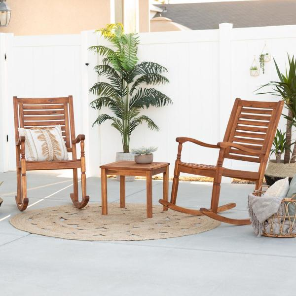 Brown 3-Piece Acacia Wood Traditional Rocking Chair Outdoor Chat Set with Slatted Square Side Table