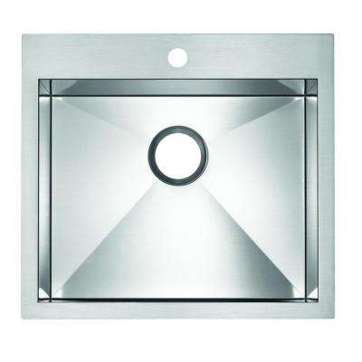 Precision Drop-in Undermount MicroEdge 20.in 1 hole Single Bowl Kitchen Sink with Ledge