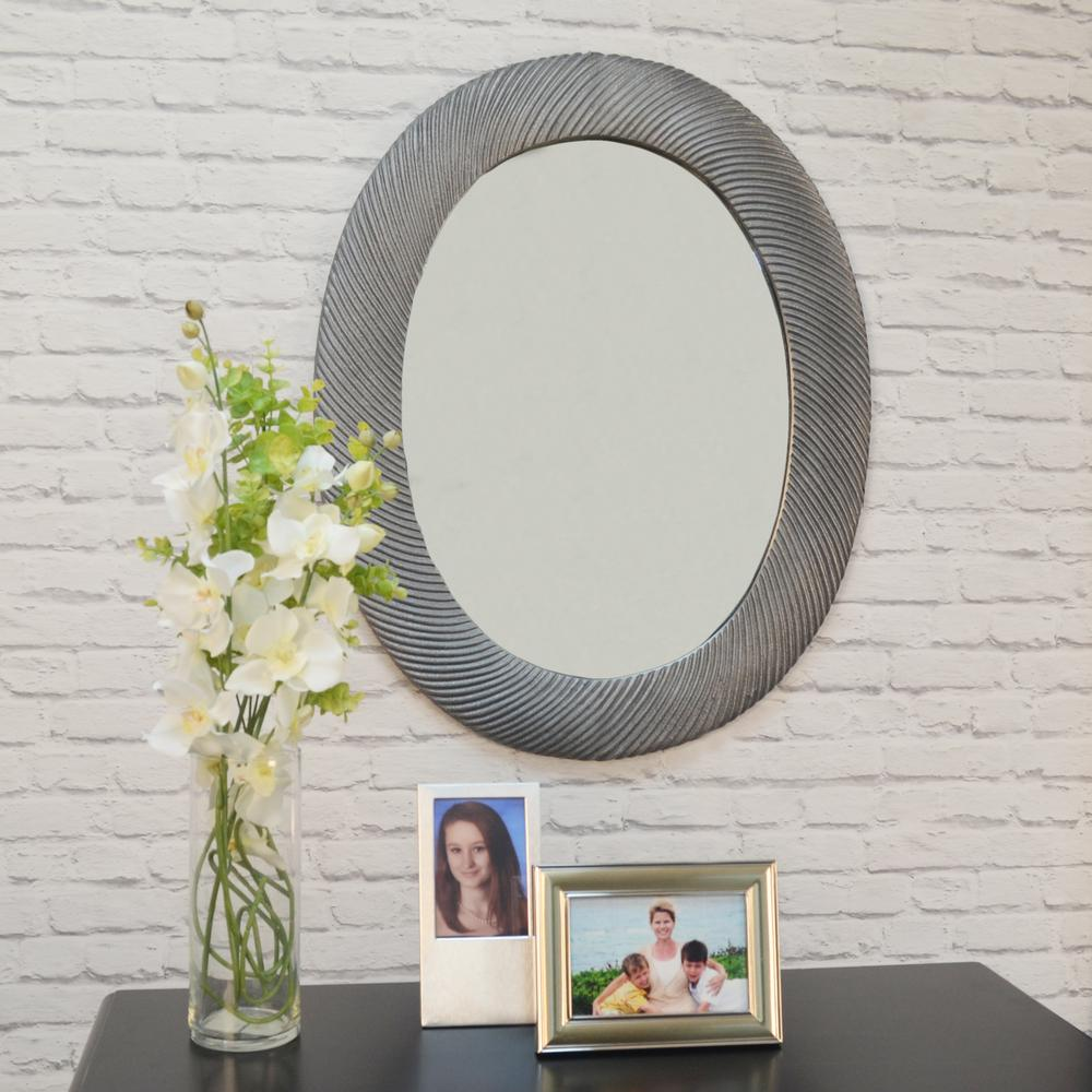 Virginia Oval Antique Pewter Decorative Wall Mirror