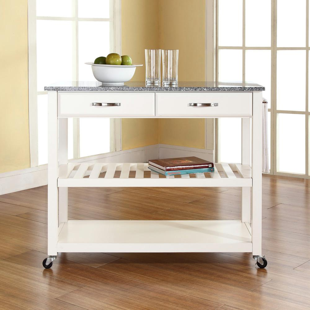 crosley white kitchen cart with granite top-kf30053wh - the home depot