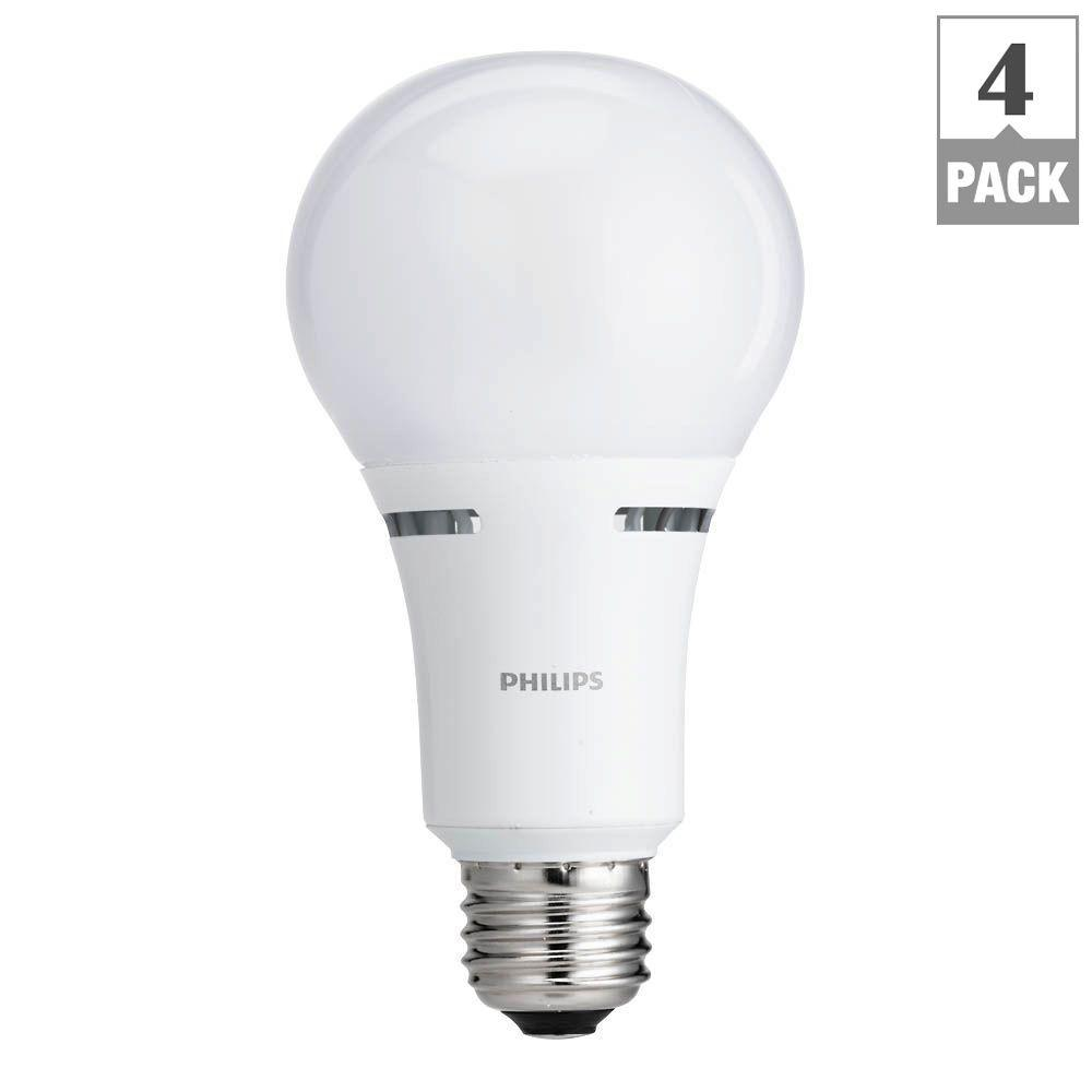 Philips 100 Watt Equivalent A21 Dimmable LED Light Bulb Soft White  Household With Warm Glow Light Effect (4 Pack) 459107   The Home Depot