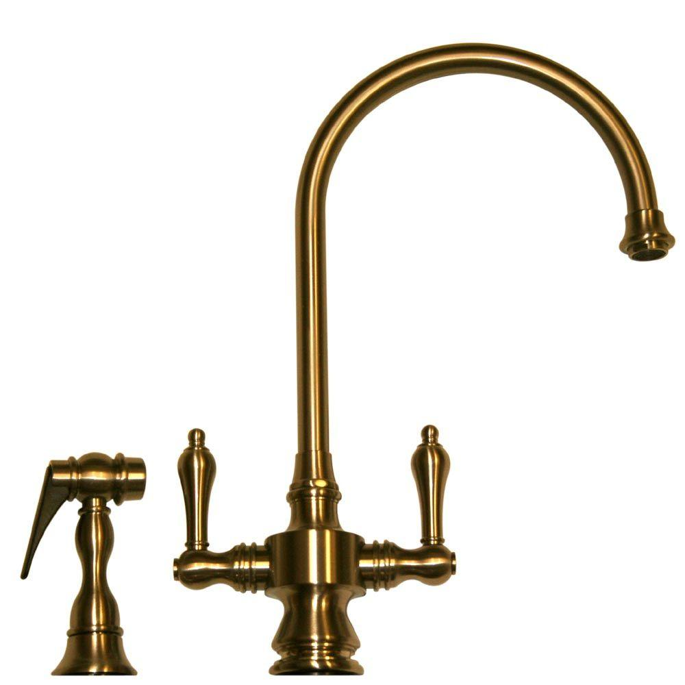 Whitehaus Collection Vintage III 2-Handle Standard Kitchen Faucet with Side Sprayer in Antique Brass