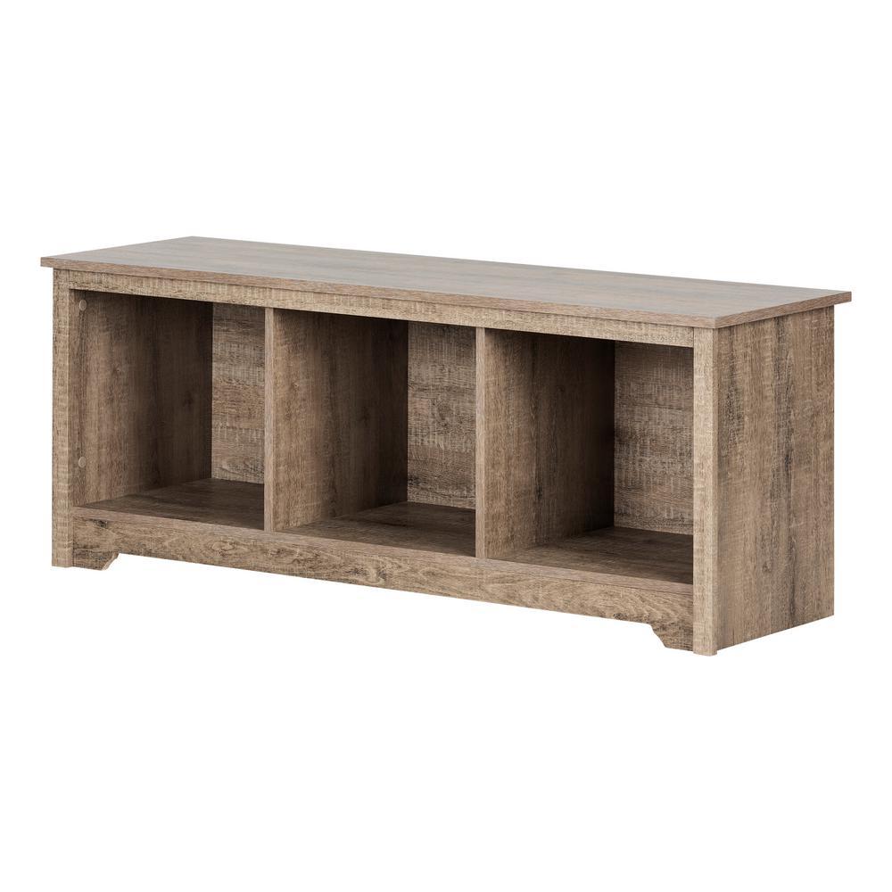 South Shore Vito Weathered Oak Storage Bench