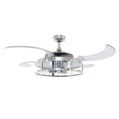 Classic Indoor Chrome and Clear Retractable 4-blade 48 in. AC Ceiling Fan with Light Kit and Remote Control