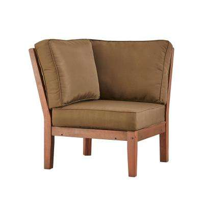 Verdon Gorge Brown Oiled Wood Outdoor Corner Lounge Chair with Brown Cushion