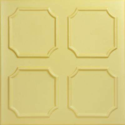 Bostonian 1.6 ft. x 1.6 ft. Foam Glue-up Ceiling Tile in Concord Ivory