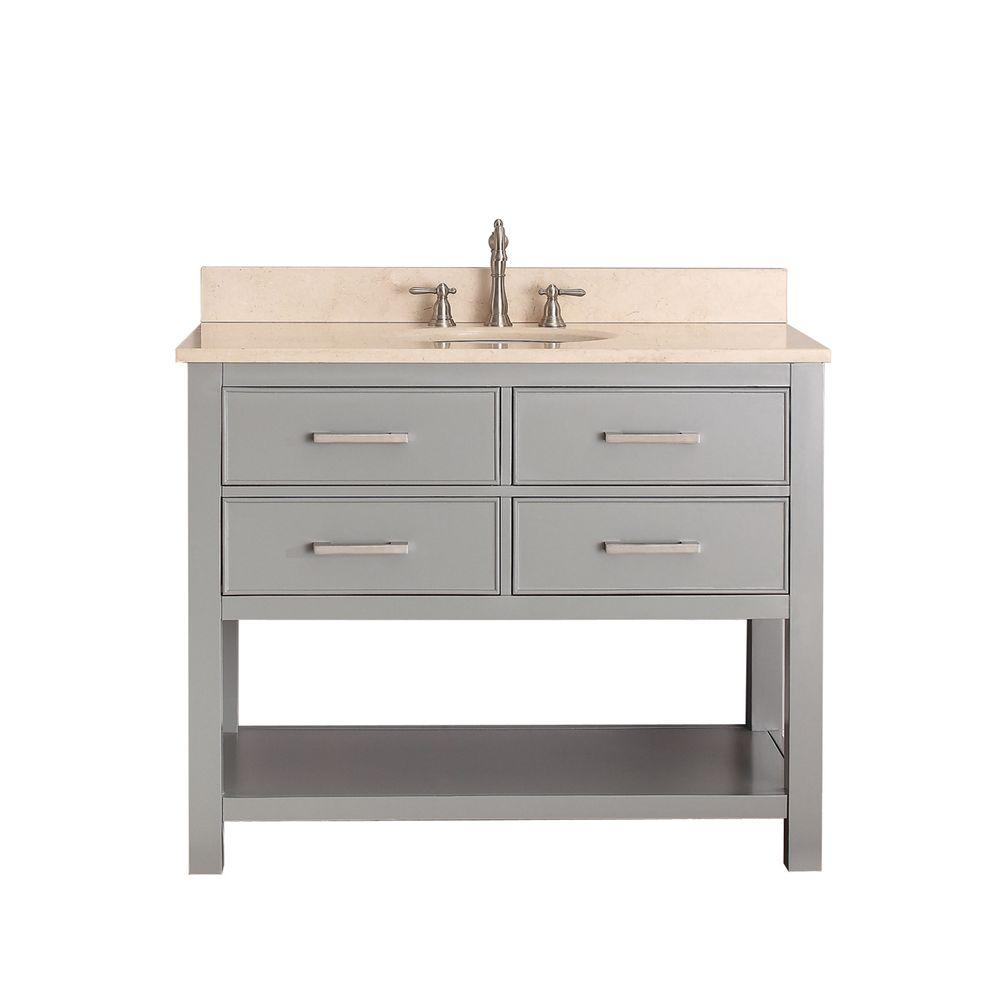 Avanity Brooks 43 in. W x 22 in. D x 35 in. H Vanity in Chilled Gray with Marble Vanity Top in Galala Beige and White Basin