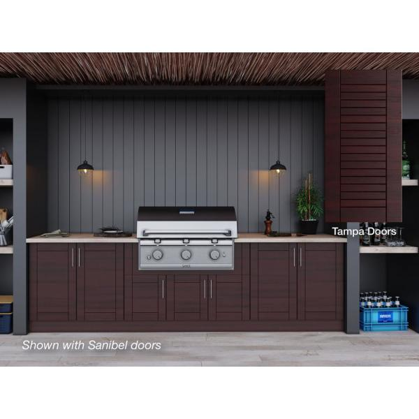 Weatherstrong Tampa Mahogany 17 Piece 121 25 In X 34 5 In X 28 In Outdoor Kitchen Cabinet Set Wse120wm Tmh The Home Depot
