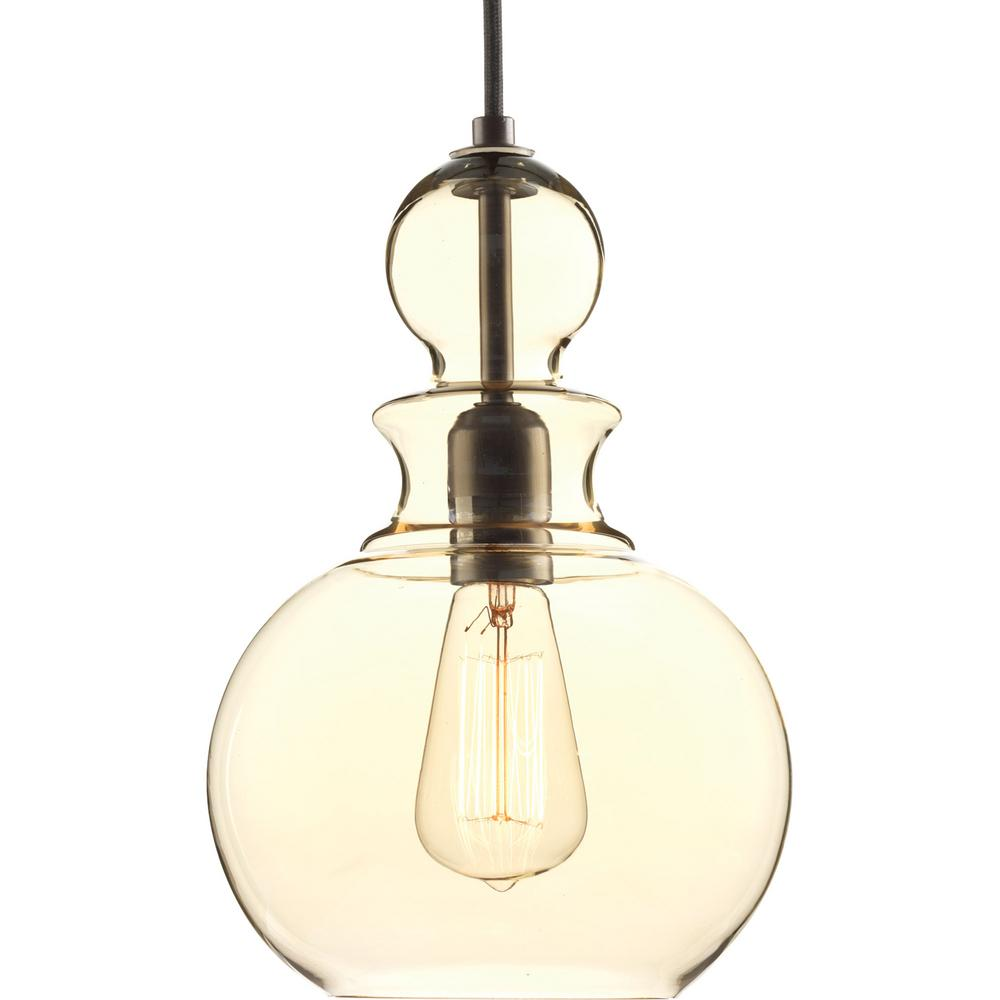 Progress Lighting Staunton Collection 1 Light Antique Bronze Pendant With Champagne Gl