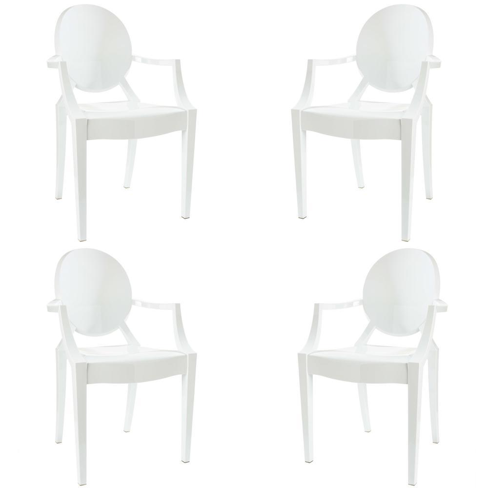 Burton White Arm Chair (Set of 4)